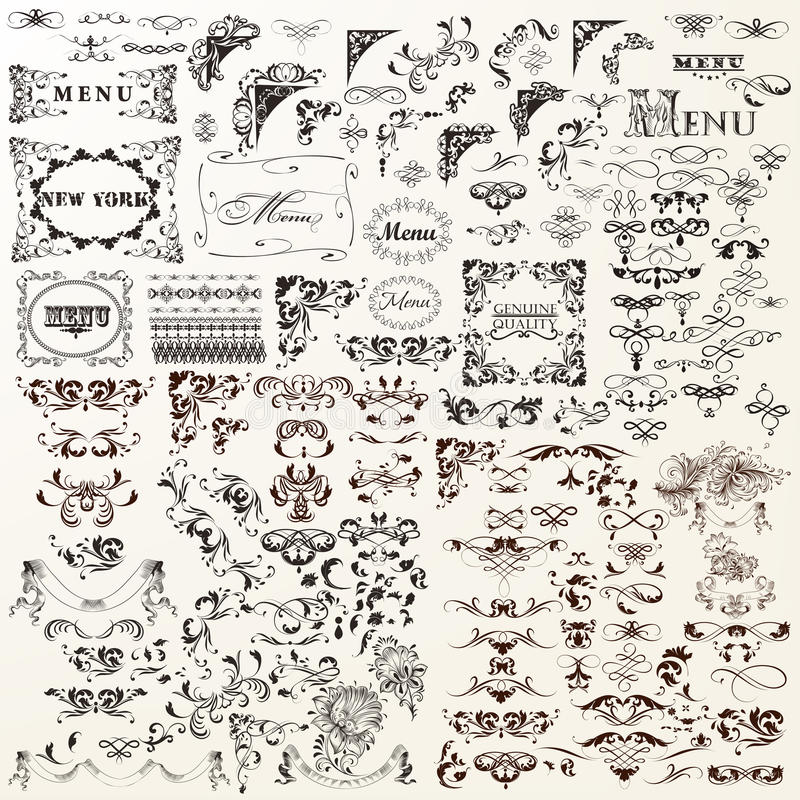 Decorative vector elements set. Flourishes, swirls, frames royalty free illustration