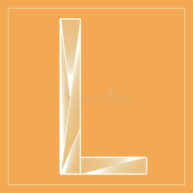 Free Decorative Vector Font. Stylized Letter L. Isolated Symbol On Orange Background. Royalty Free Stock Image - 206499636