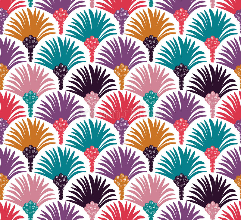 Decorative vector seamless pattern with palm trees. stock illustration