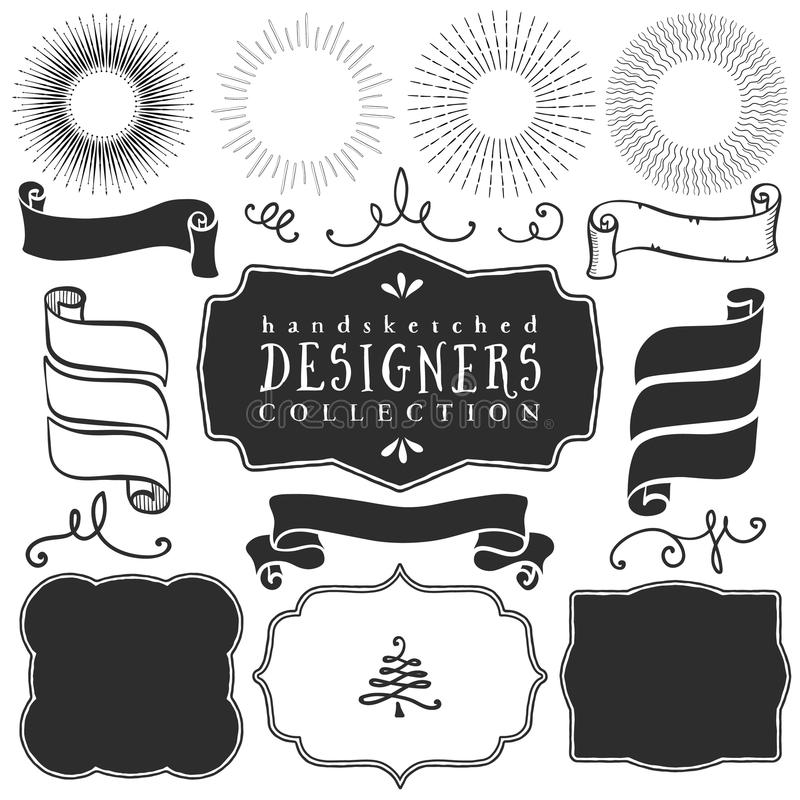 Decorative vector templates and elements for design of logos. And badges in vintage style vector illustration