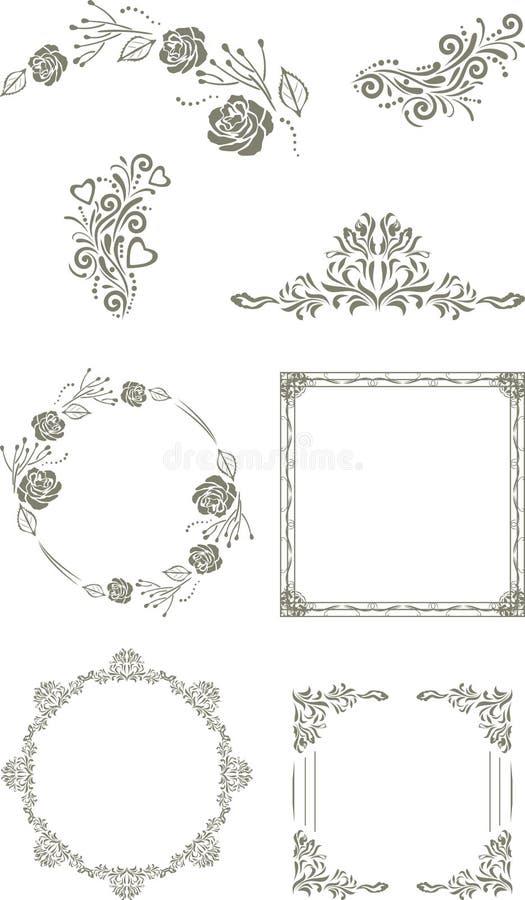 Decorative vintage elements and frames for design stock image