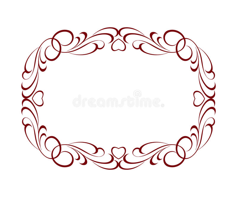Decorative vintage frame with hearts.Vector illustration. Brown on white vector illustration