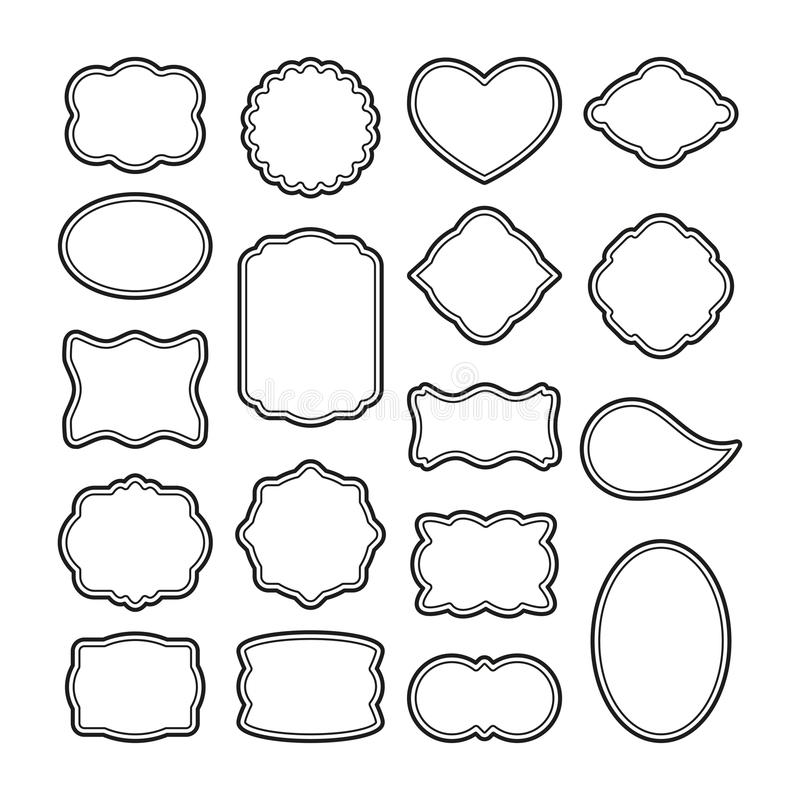 Set Of Blank Vintage Retro Rectangle Badge Stock Vector