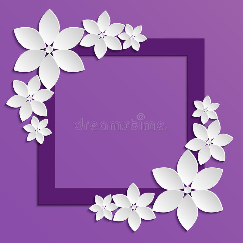 Decorative violet papercut border with white paper flowers royalty free illustration