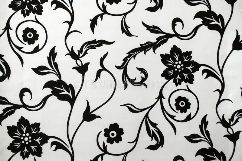 Download Decorative Wallpaper Pattern In Black And White Stock Image