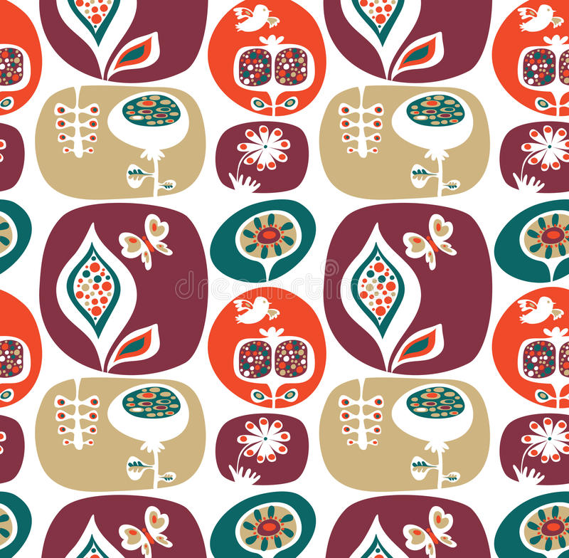 Download Decorative Wallpaper Pattern With Flowers Stock Vector - Image: 14518375