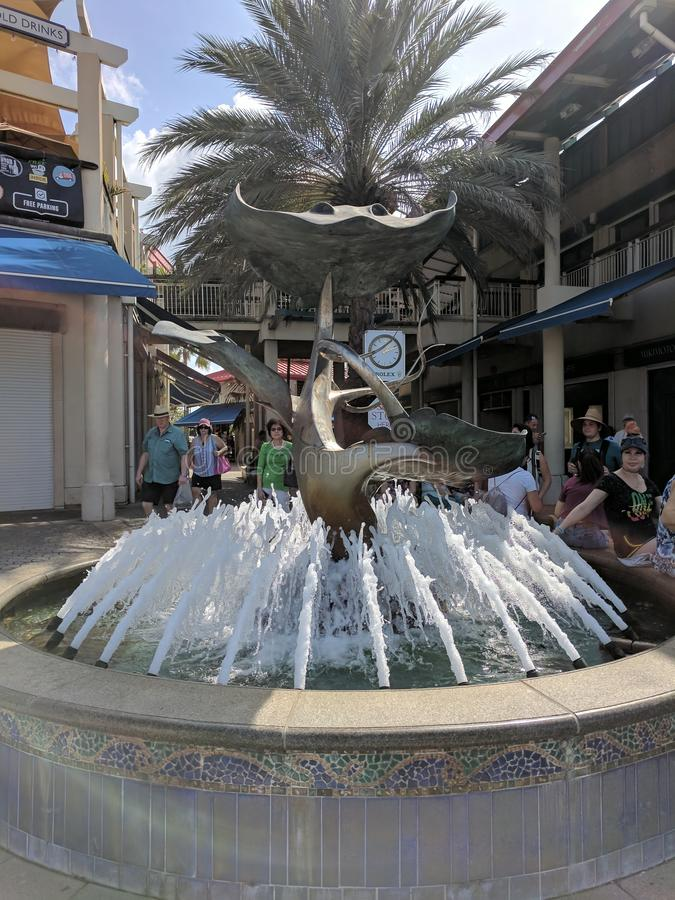 Decorative water fountain in Grand Cayman shopping center stock photo
