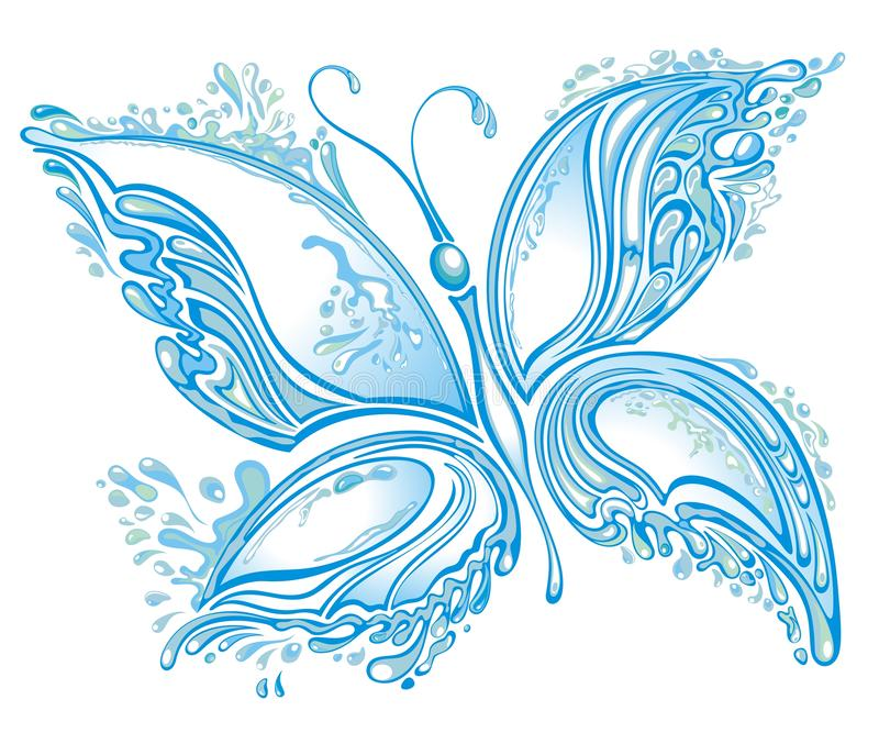Water splash butterfly. Decorative Water splash in shape of butterfly on white stock illustration