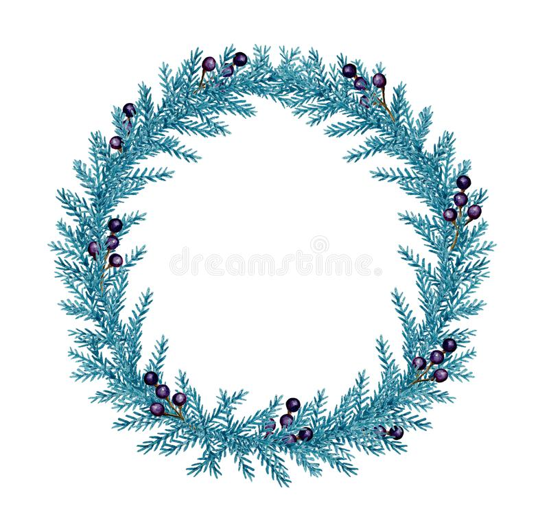 Decorative watercolor Christmas wreath with fir and berries vector illustration