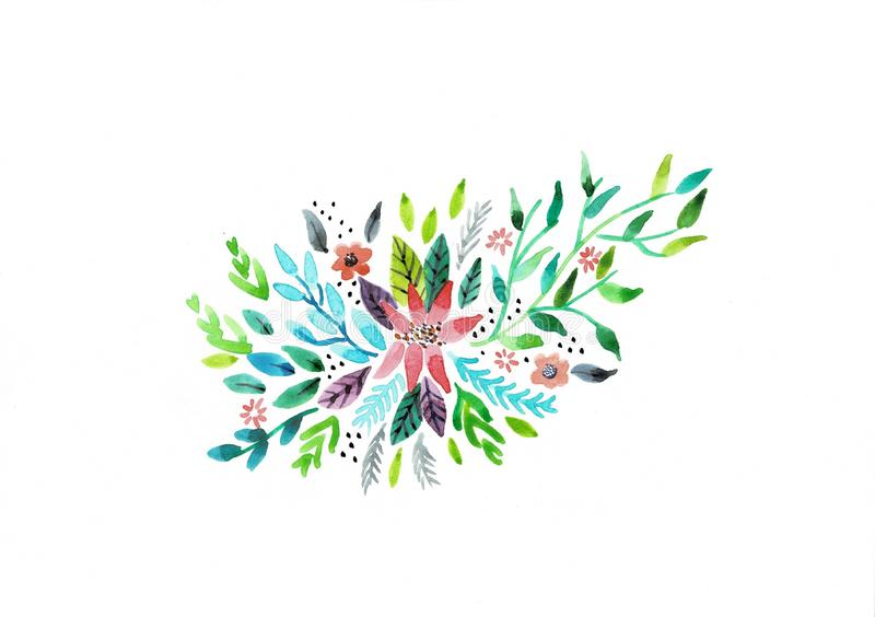 Decorative watercolor flowers. floral illustration, Leaf and buds. Botanic composition for wedding or greeting card stock illustration