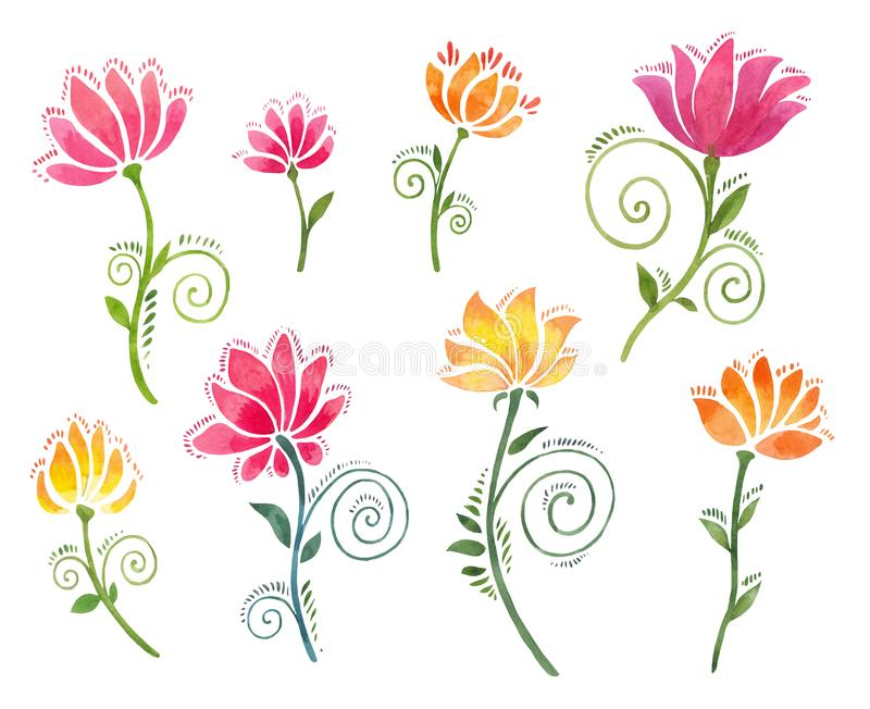 Decorative watercolor flowers isolated. Set of floral elements suitable for stickers, colourful pictures for diary. Set of watercolor floral twiddles. Beautiful royalty free illustration