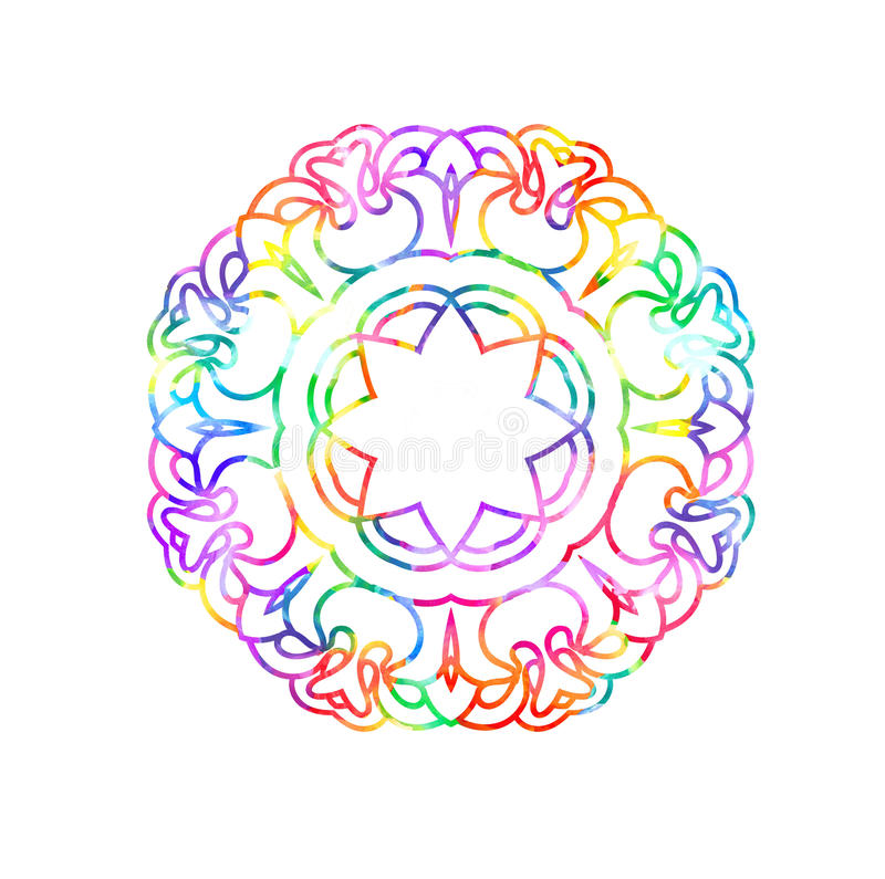 Decorative watercolor round pattern in rainbow colors. stock illustration