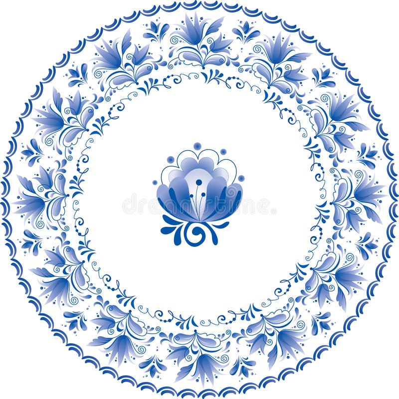 Decorative white and blue plate with flowers royalty free illustration
