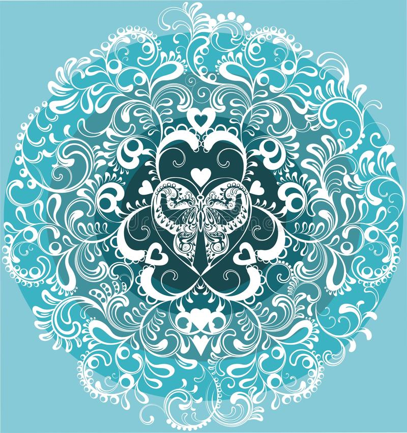 Download Decorative White Butterfly In Ornamental Circle Stock Illustration - Image: 23175776