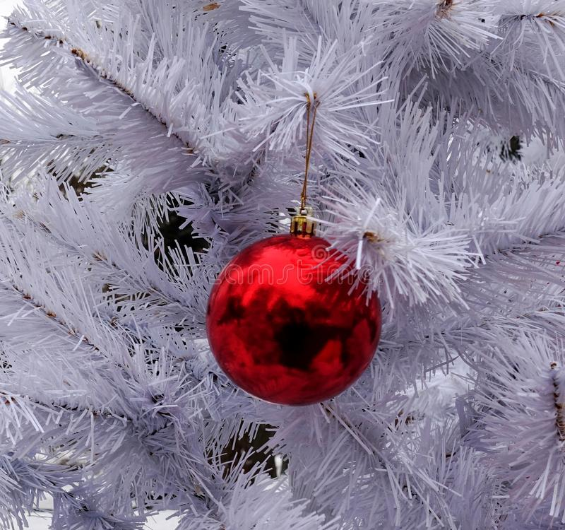 Decorative white christmas tree with a red ball. Decorative white christmas tree with a red glass ball stock photography