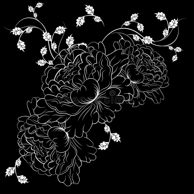 Decorative white flowers on black background royalty free illustration