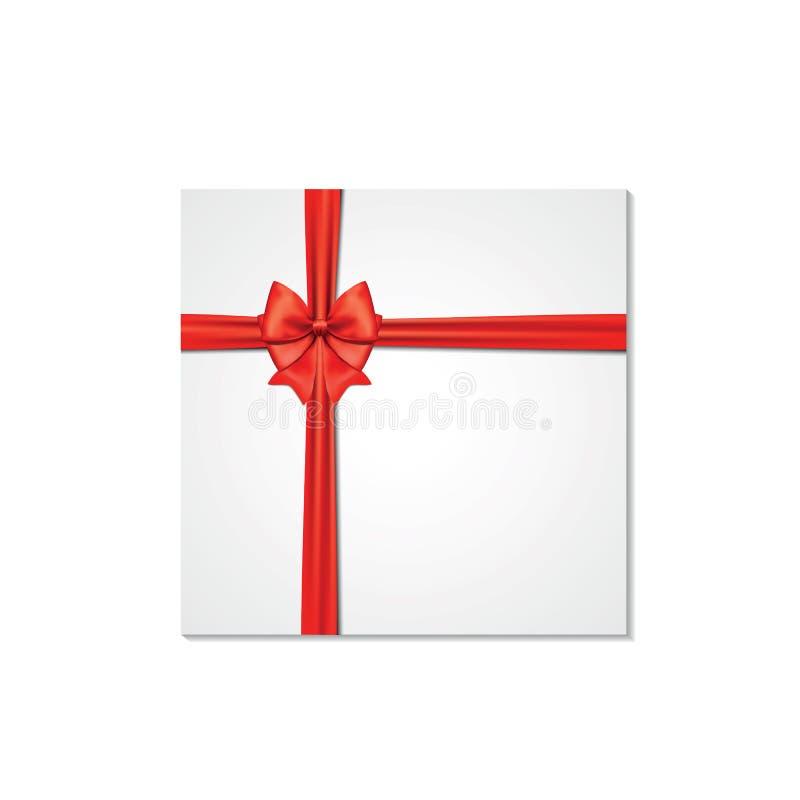 Decorative white gift boxes isolated on white background. Red bow, ribbon festive element for celebratory design vector illustration