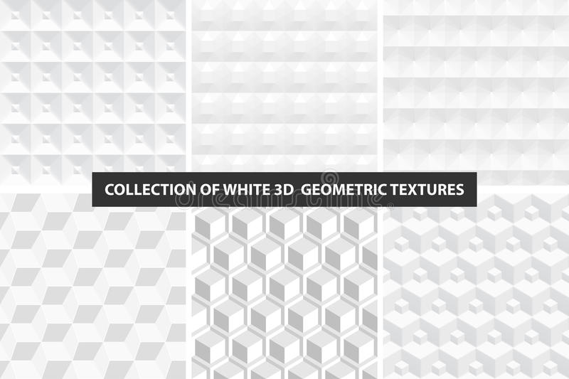 Decorative white seamless textures. Geometric cubes collection stock illustration
