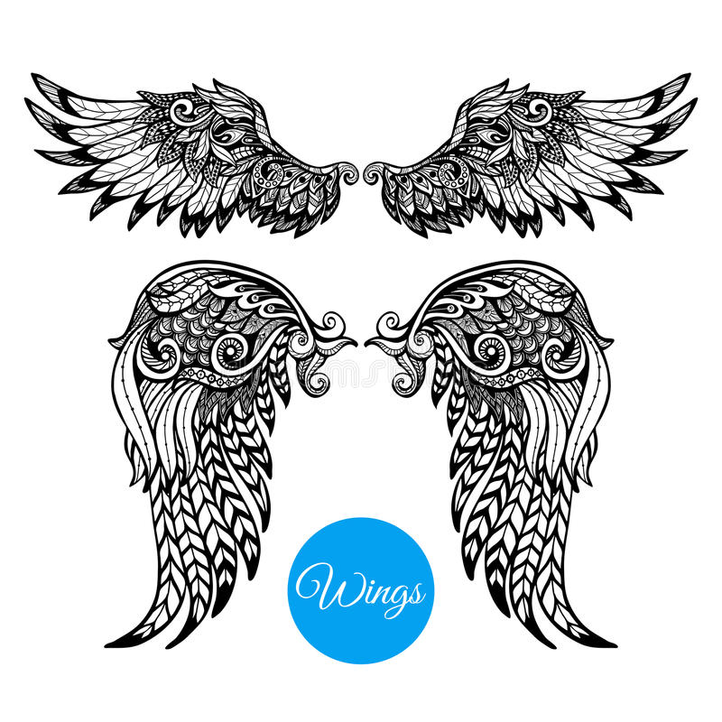 Decorative Wings Set vector illustration