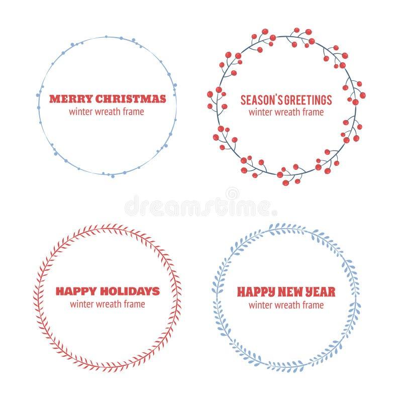 Decorative winter circle wreath collection vector illustration