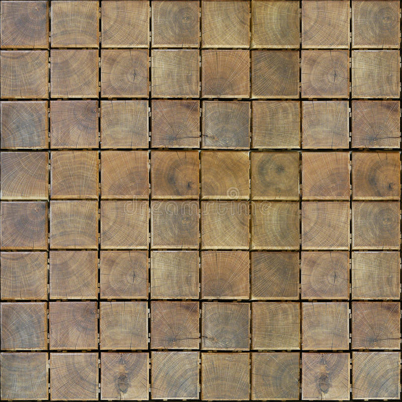 Decorative wood blocks - checkered pattern - seamless background stock image