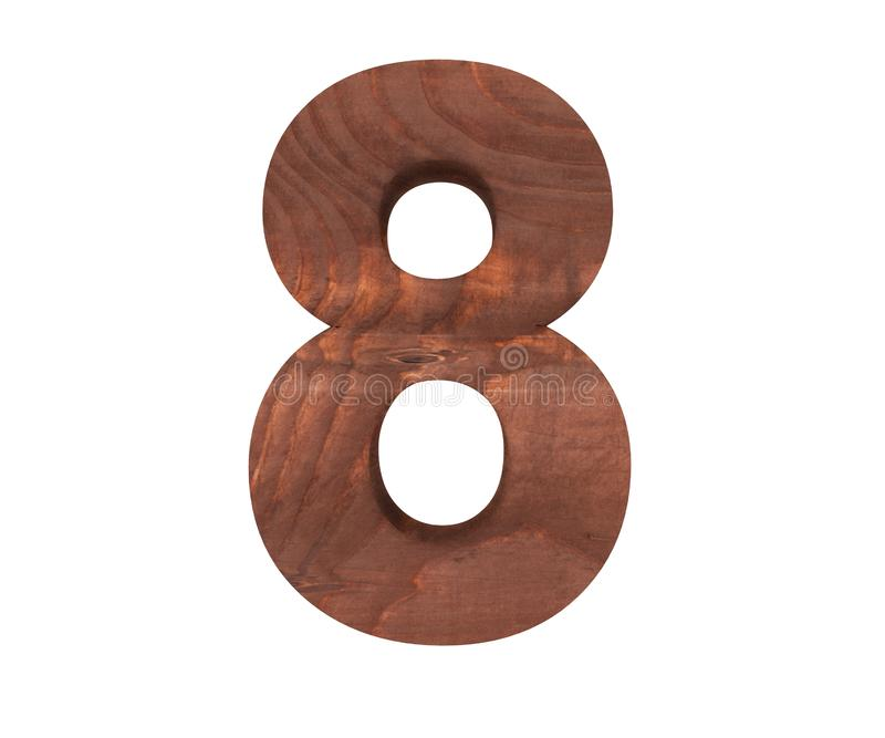 Decorative wooden alphabet digit eight symbol - 8. 3d rendering illustration. Isolated on white background. Decorative wooden alphabet digit eight symbol - 8 stock illustration