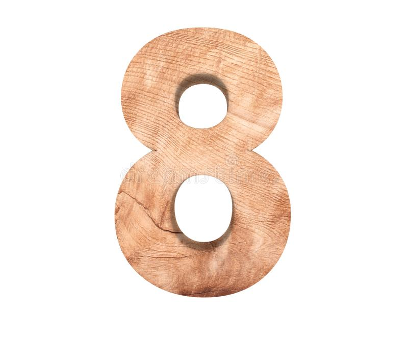 Decorative wooden alphabet digit eight symbol - 8. 3d rendering illustration. Isolated on white background. Decorative wooden alphabet digit eight symbol - 8 vector illustration