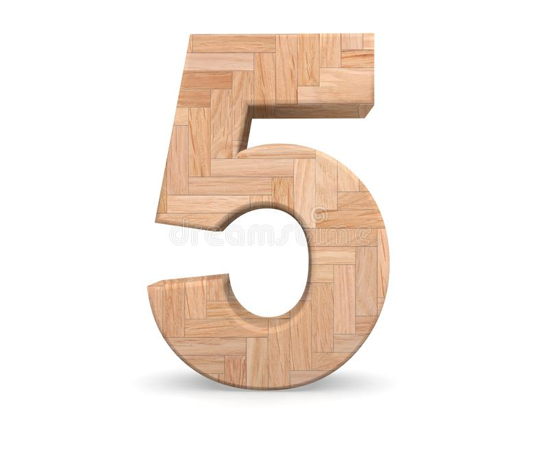 Decorative wooden alphabet digit five symbol - 5. 3d rendering illustration. Isolated on white background. Decorative wooden alphabet digit five symbol - 5. 3d royalty free illustration