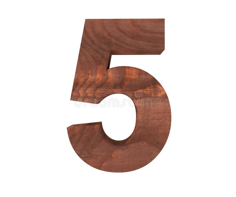 Decorative wooden alphabet digit five symbol - 5. 3d rendering illustration. Isolated on white background. Decorative wooden alphabet digit five symbol - 5. 3d stock illustration