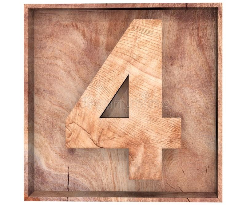 Decorative wooden alphabet digit four symbol - 4 in wooden box. 3d rendering illustration. Isolated on white background. Decorative wooden alphabet digit four royalty free illustration