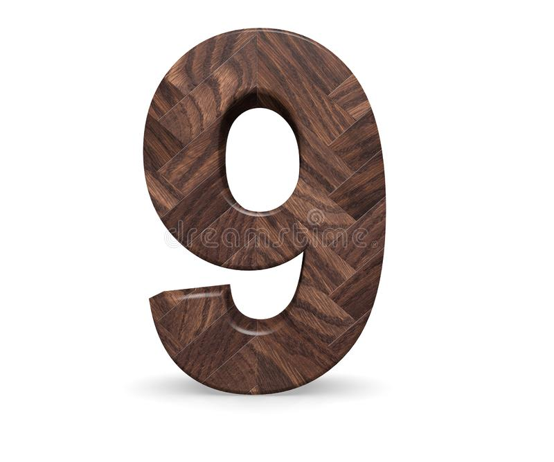 Decorative wooden alphabet digit nine symbol - 9. 3d rendering illustration. Isolated on white background. Decorative wooden alphabet digit nine symbol - 9. 3d stock illustration