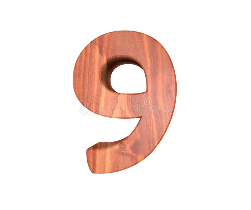 Decorative wooden alphabet digit nine symbol - 9. 3d rendering illustration. Isolated on white background. Decorative wooden alphabet digit nine symbol - 9. 3d royalty free illustration