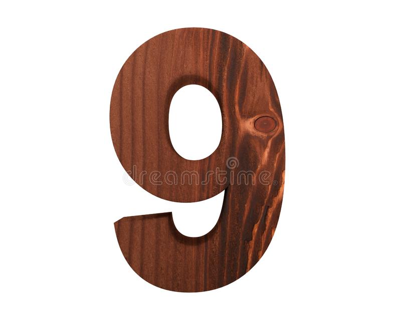 Decorative wooden alphabet digit nine symbol - 9. 3d rendering illustration. Isolated on white background. Decorative wooden alphabet digit nine symbol - 9. 3d vector illustration