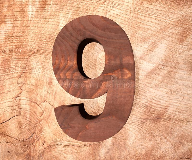 Decorative wooden alphabet digit nine symbol - 9. 3d rendering illustration. Isolated on white background vector illustration