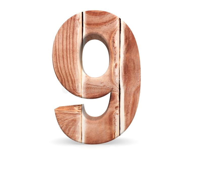 Decorative wooden alphabet digit nine symbol - 9 From Wood Planks. 3d rendering illustration. Isolated on white background. Decorative wooden alphabet digit vector illustration