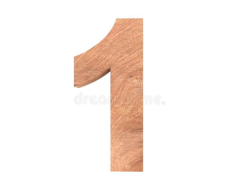 Decorative wooden alphabet digit one symbol - 1. 3d rendering illustration. Isolated on white background. Decorative wooden alphabet digit one symbol - 1. 3d stock illustration