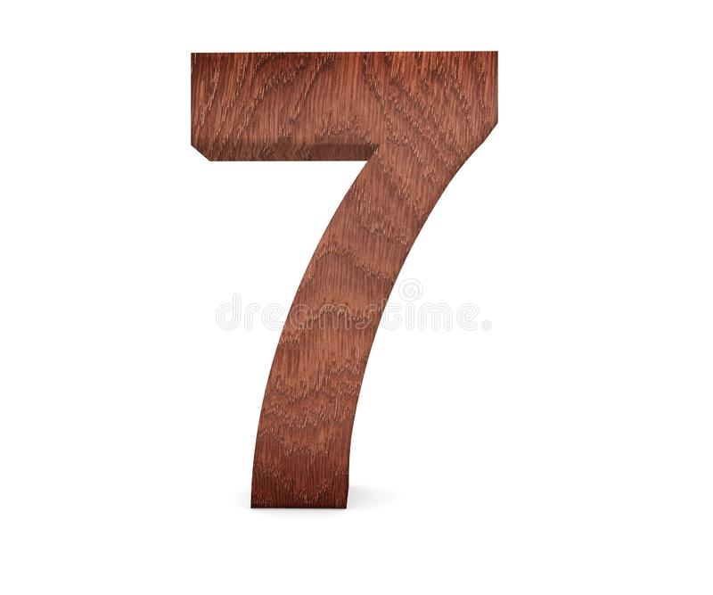 Decorative wooden alphabet digit seven symbol - 7. 3d rendering illustration. Isolated on white background. Decorative wooden alphabet digit seven symbol - 7 royalty free illustration