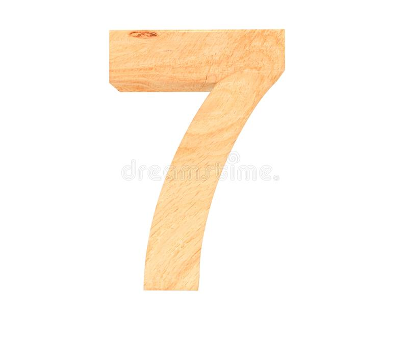 Decorative wooden alphabet digit seven symbol - 5. 3d rendering illustration. Isolated on white background. Decorative wooden alphabet digit seven symbol - 5 vector illustration