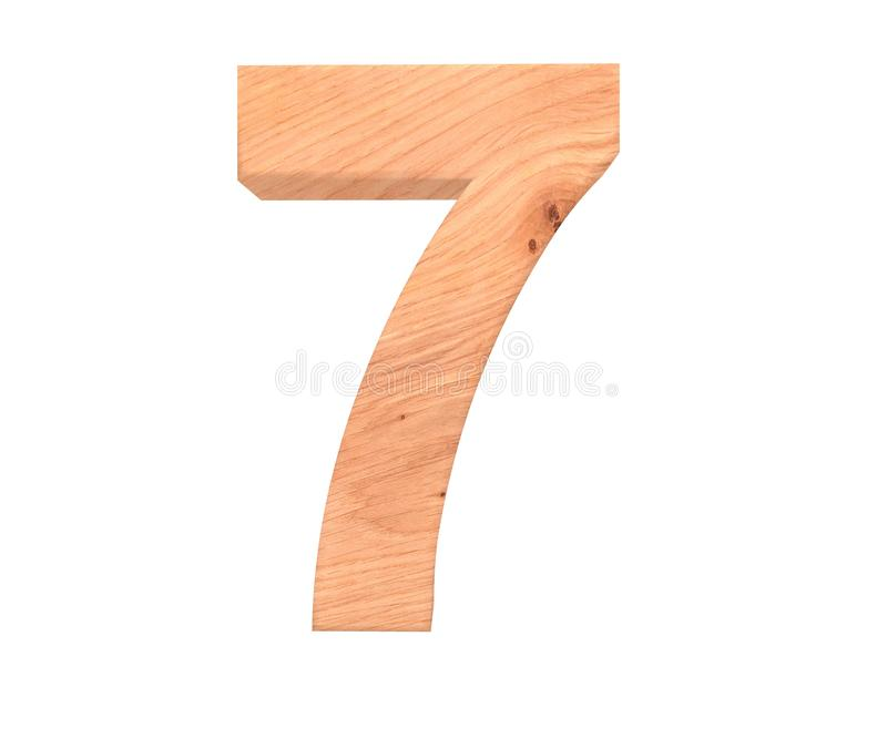 Decorative wooden alphabet digit seven symbol - 7. 3d rendering illustration. Isolated on white background. Decorative wooden alphabet digit seven symbol - 7 stock illustration