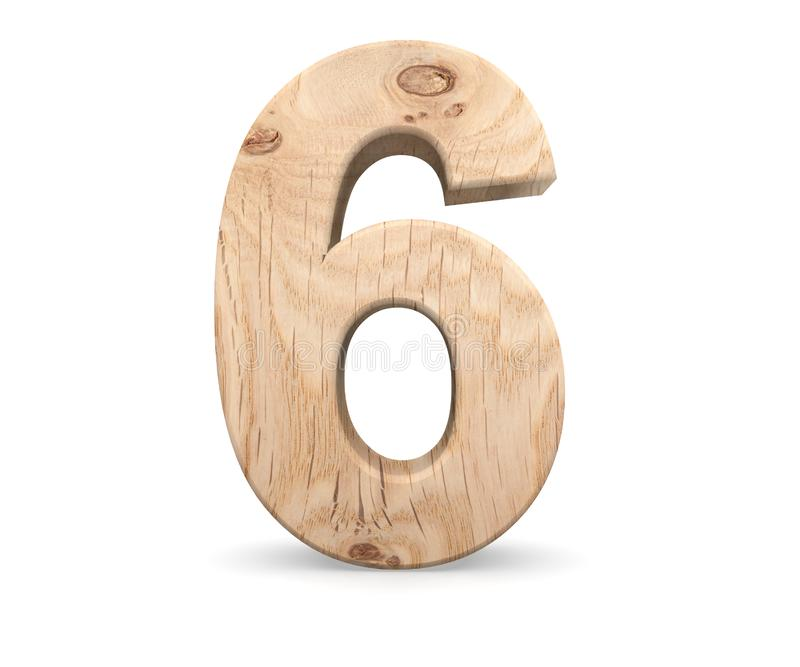 Decorative wooden alphabet digit six symbol - 6. 3d rendering illustration. Isolated on white background. Decorative wooden alphabet digit six symbol - 6. 3d vector illustration