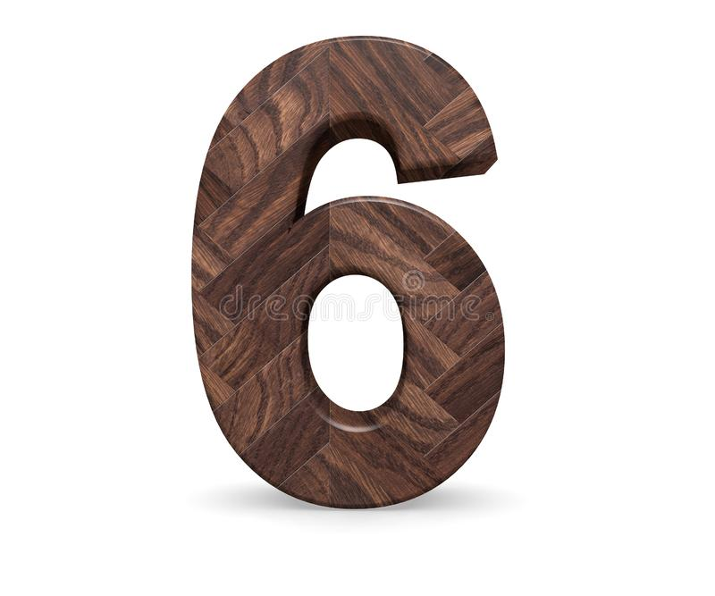 Decorative wooden alphabet digit six symbol - 6. 3d rendering illustration. Isolated on white background. Decorative wooden alphabet digit six symbol - 6. 3d royalty free illustration