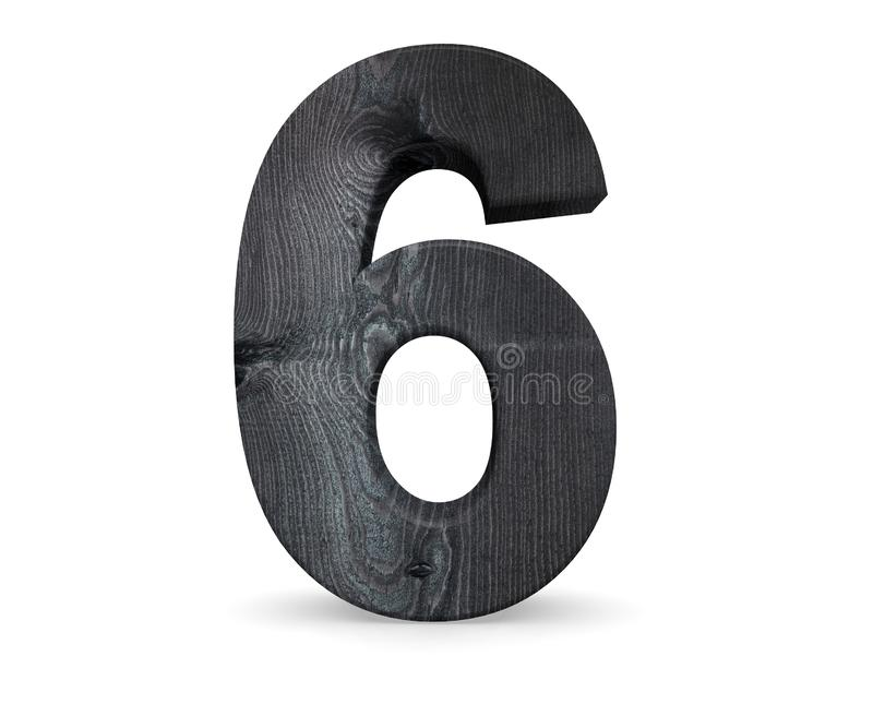 Decorative wooden alphabet digit six symbol - 6. 3d rendering illustration. Isolated on white background. Decorative wooden alphabet digit six symbol - 6. 3d stock illustration