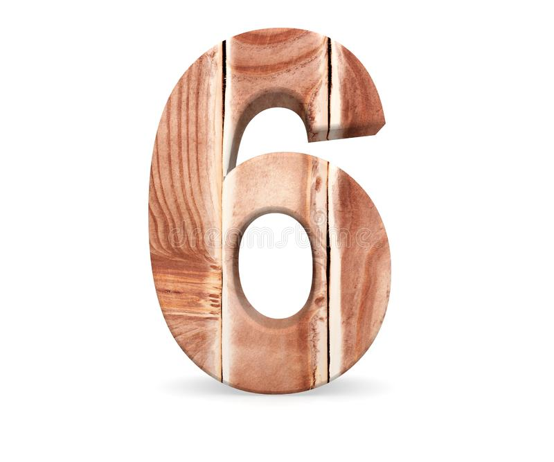Decorative wooden alphabet digit six symbol - 6 From wood Planks. 3d rendering illustration. Isolated on white background. Decorative wooden alphabet digit six stock illustration