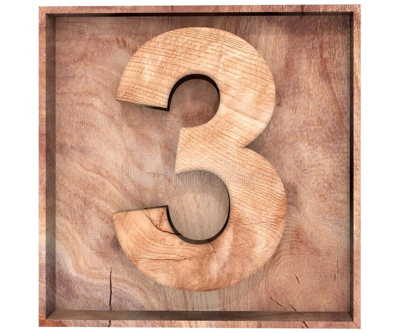 Decorative wooden alphabet digit three symbol - 3 in wooden box. 3d rendering illustration. Isolated on white background. Decorative wooden alphabet digit three stock illustration
