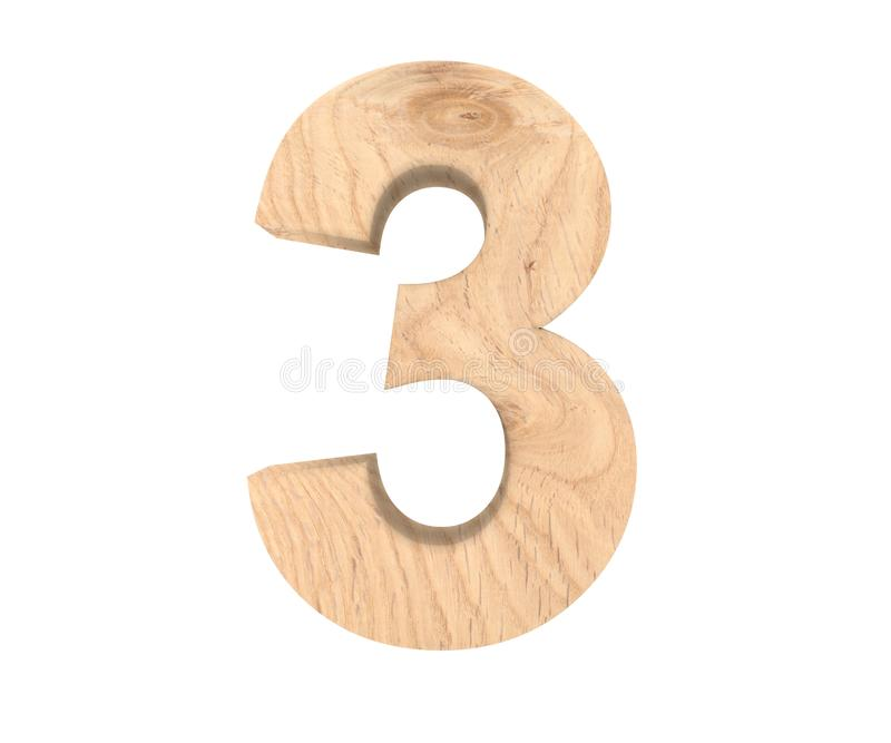 Decorative wooden alphabet digit three symbol - 3. 3d rendering illustration. Isolated on white background. Decorative wooden alphabet digit three symbol - 3 vector illustration