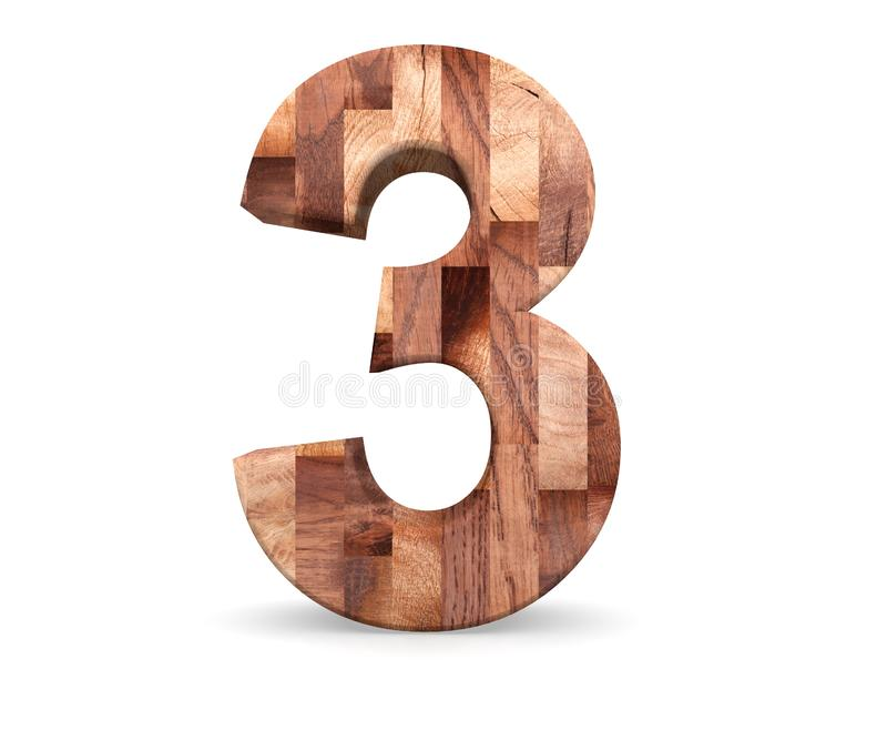 Decorative wooden alphabet digit three symbol - 3. 3d rendering illustration. Isolated on white background. Decorative wooden alphabet digit three symbol - 3 stock illustration