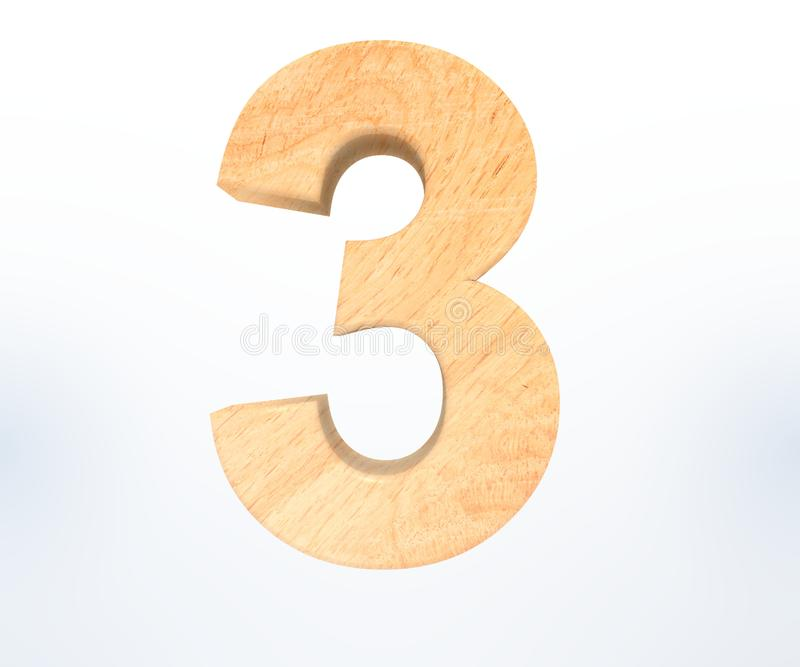 Decorative wooden alphabet digit three symbol - 3. 3d rendering illustration. Isolated on white background. Decorative wooden alphabet digit three symbol - 3 royalty free illustration