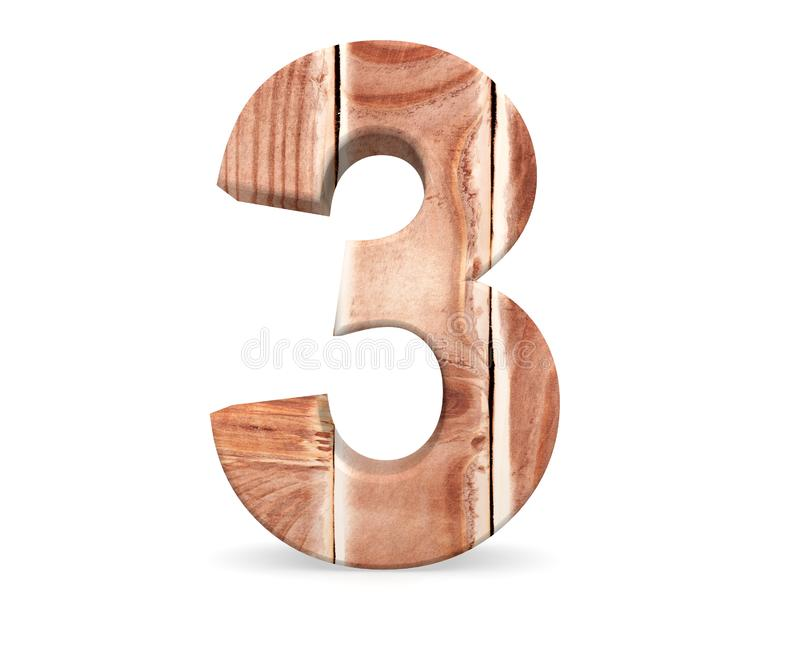 Decorative wooden alphabet digit three symbol - 3 From woode planks. 3d rendering illustration. Isolated on white background. Decorative wooden alphabet digit royalty free illustration