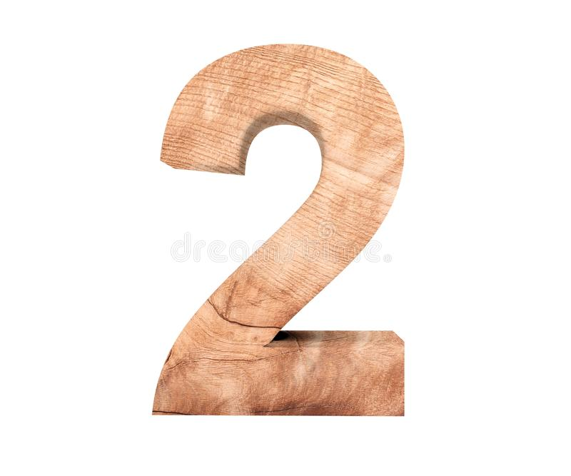 Decorative wooden alphabet digit two symbol - 2. 3d rendering illustration. Isolated on white background. Decorative wooden alphabet digit two symbol - 2. 3d royalty free illustration
