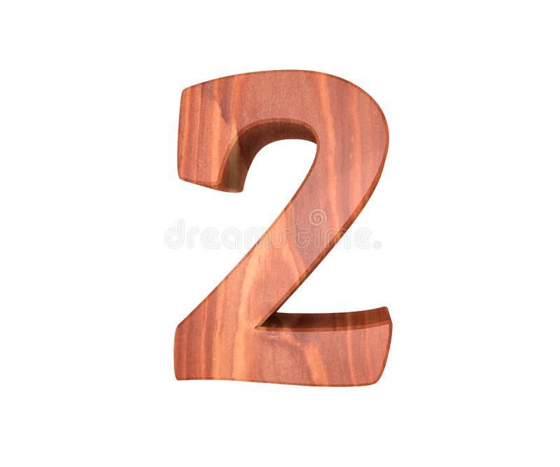 Decorative wooden alphabet digit two symbol - 2. 3d rendering illustration. Isolated on white background. Decorative wooden alphabet digit two symbol - 2. 3d vector illustration